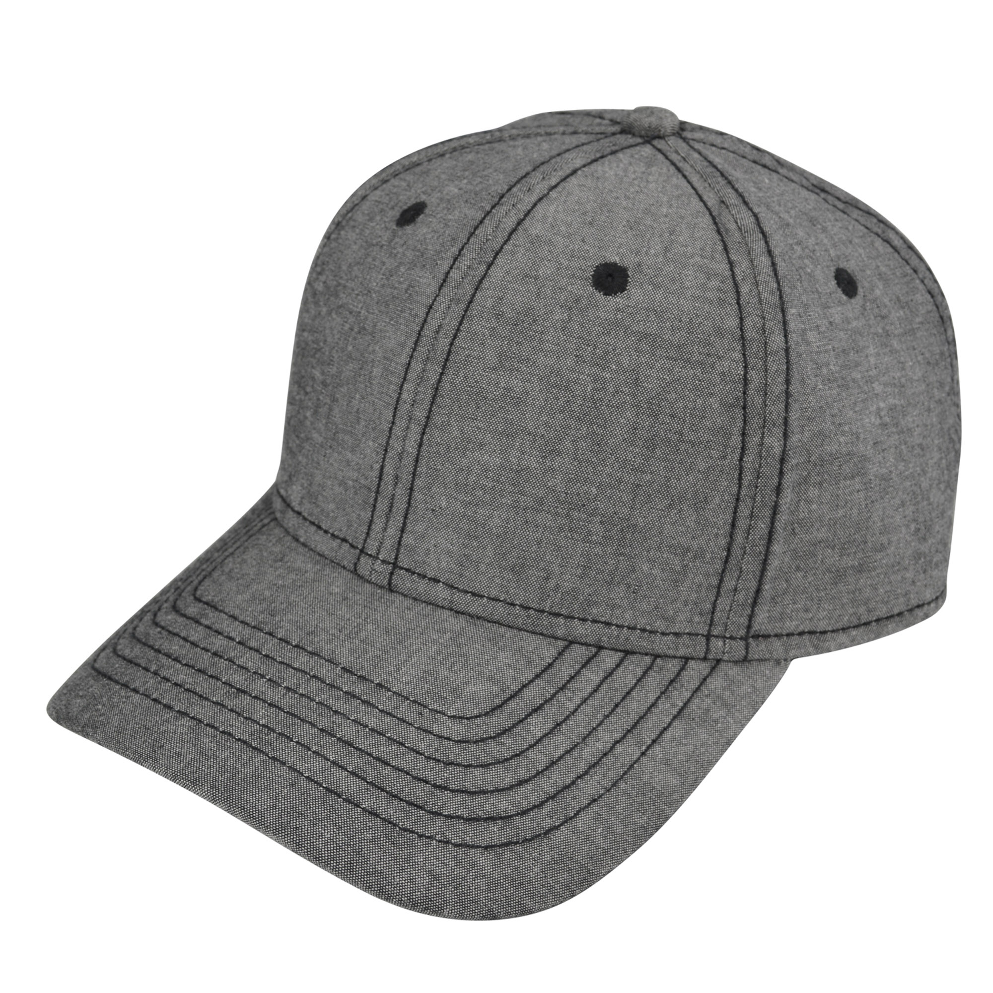 DALIX Premium Chambray Low Crown Cap Curved Bill 6 Panel Hat (Black)