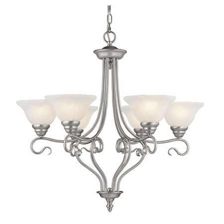 Chandeliers 6 Light With White Alabaster Glass Brushed Nickel size 29 in 600 Watts - World of