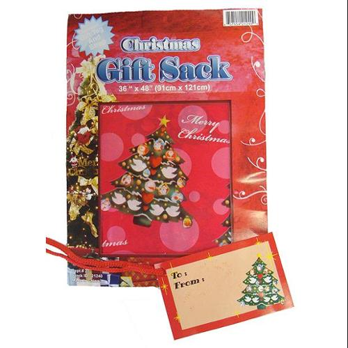 """48"""" Large Red and Pink Merry Christmas Gift Sack Bag With Tag and Cord"""