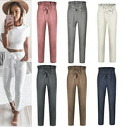 Fashion Women High Waist Drawstring Elastic Long Pants Stripped Pencil Trousers