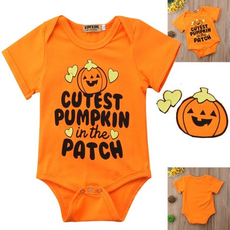 Newborn Baby Boy Girl Halloween Costumes Romper Kids Funny Pumpkin Bodysuit Clothes Outfits 0-18 Months](Newborn Boy Halloween Costumes)