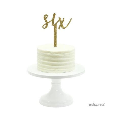 Gold Glitter Script Number Six Acrylic Birthday Cake Topper