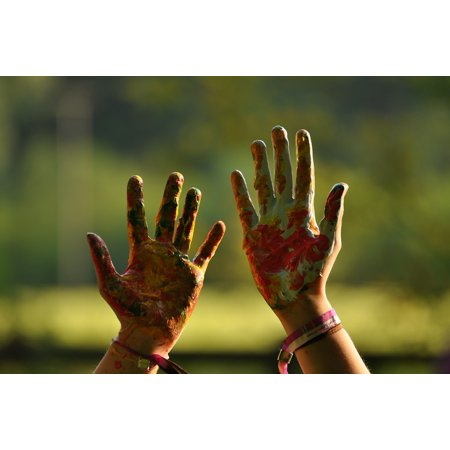 LAMINATED POSTER Child Colorful Painted Fun Hands Hand Color Poster Print 24 x 36