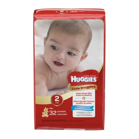 HUGGIES Little Snugglers Diapers, Size 2, 32 Diapers
