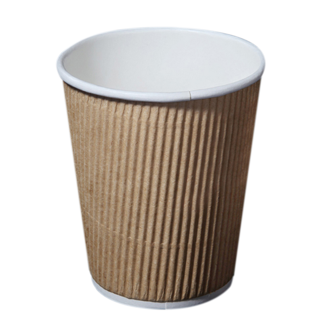 100Pcs Disposable Kraft Paper Coffee Cups Party Home Paper Drinking Ripple and Insulated Cups 8oz