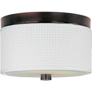 ET2 Elements 2-Light White Weave Flush Mount in Oil Rubbed Bronze
