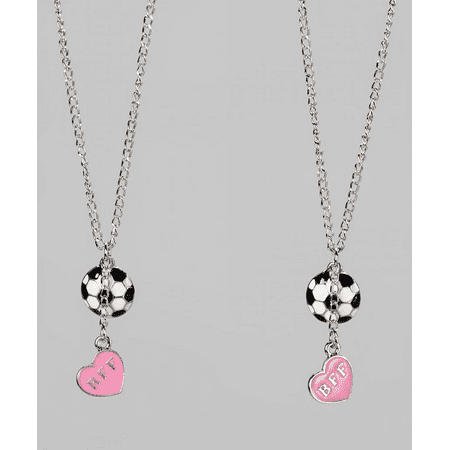 Lux Accessories Kids Girls White & Pink Soccer & Heart BFF Best Friends Pendant