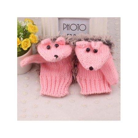Fymall Women's Winter Outdoor Warm Knitted Mittens Cute Cartoon Hedgehog Gloves - Hedgehog Mittens