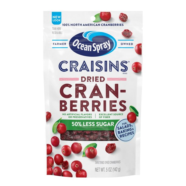 Ocean Spray Craisins Dried Cranberries, Reduced Sugar, 5oz Resealable Pouch