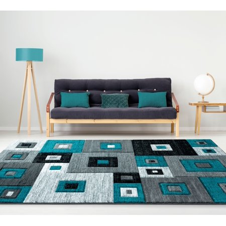 United Weavers Drachma Benson Modern Turquoise Woven Olefin/Polypropylene Area Rug or Runner ()