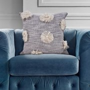 "LR Home Fall Floral Pops Trellis Gray / Off White Throw Pillow ( 18"" x 18"" )"
