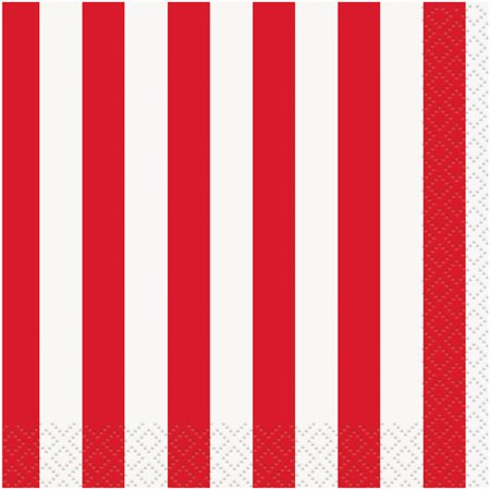 Striped Paper Beverage Napkins, Red, 16ct ()