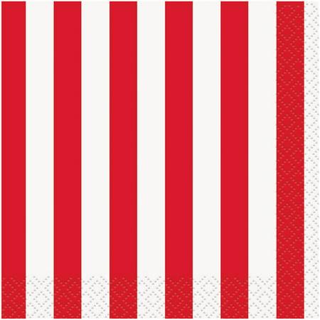 Striped Paper Beverage Napkins, Red, 16ct (Black Napkins)