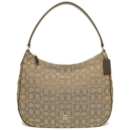 New Women S Coach F29959 Signature Khaki Brown Canvas Zip Shoulder Bag Handbag