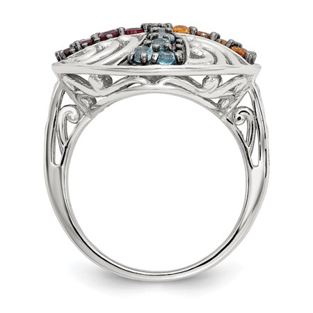 925 Sterling Silver Black Multi Gemstone Band Ring Size 6.00 Stone Fine Jewelry Gifts For Women For Her - image 2 of 10