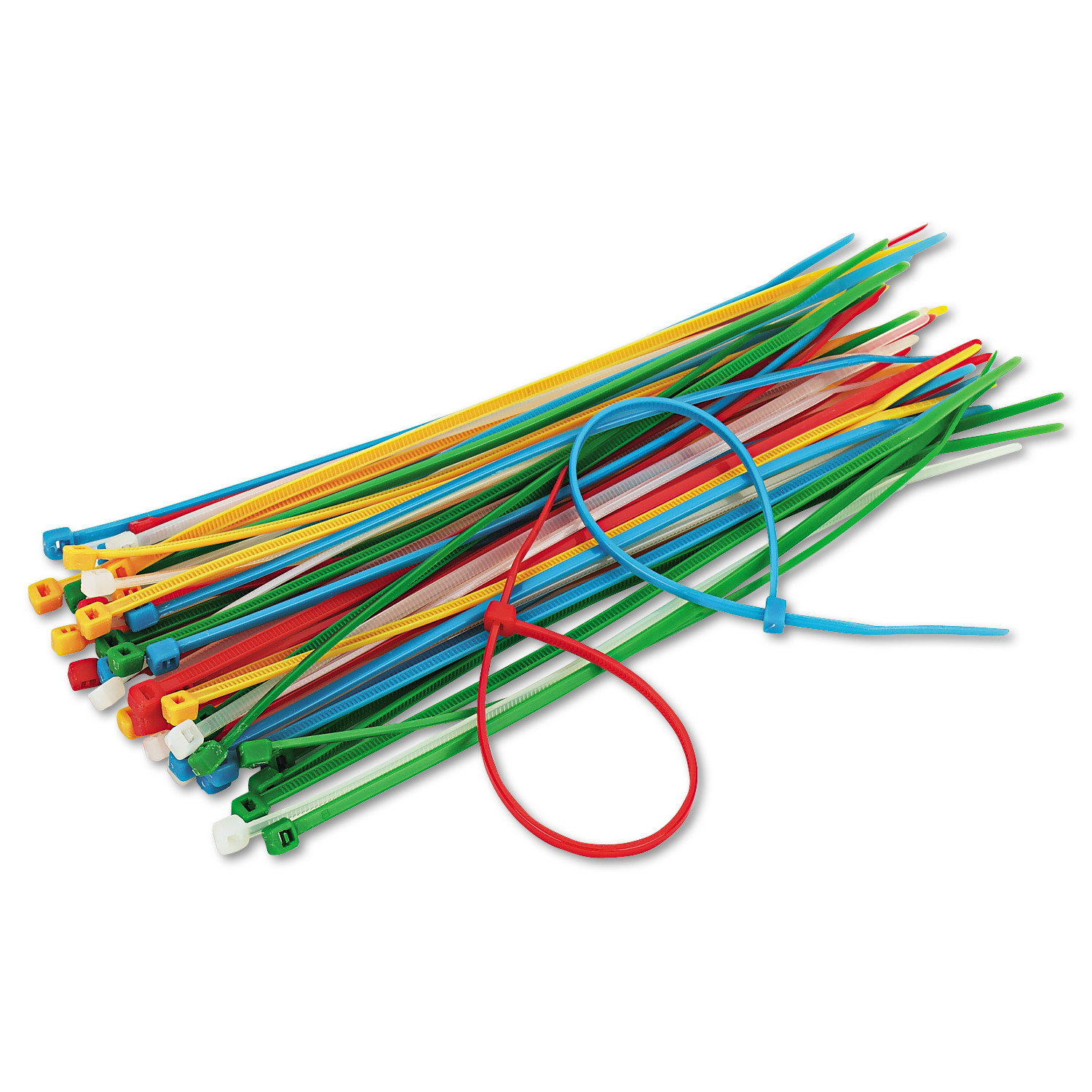 "Innovera Cable Ties, 6-3/8"" Length, Assorted Colors, 50 Ties/Pack"
