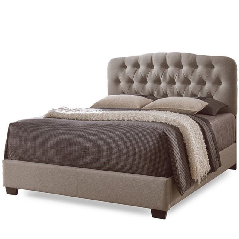Atlin Designs Upholstered King Tufted Panel Bed in Brown
