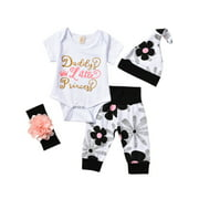 Newborn Infant Baby Girls Floral Short Sleeve Tops Romper Long Pants Hat Outfits Clothes 4Pcs Set