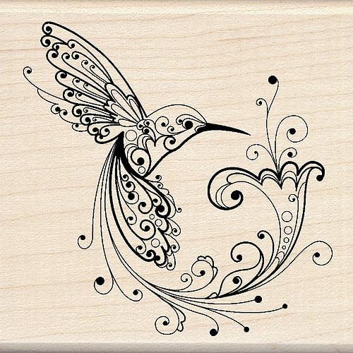 "Inkadinkado Mounted Rubber Stamp, Hummingbird 3"" x 3"""