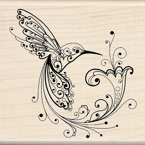 "Inkadinkado Mounted Rubber Stamp, Hummingbird 3"" x 3"""