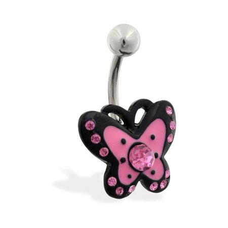(Jeweled Pink And Black Butterfly Belly Ring)