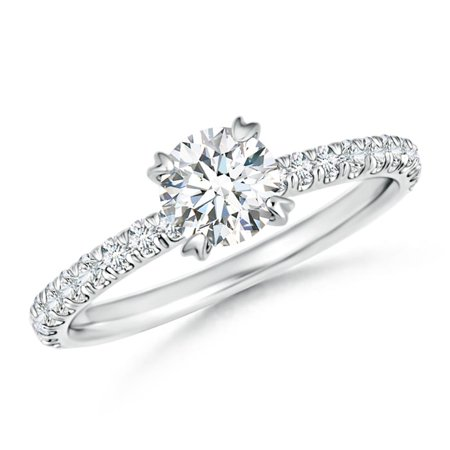 April Birthstone Ring - Vintage Inspired Diamond Solitaire Ring in Platinum (5.5mm Diamond) - SR0974D-PT-GVS2-5.5-6.5