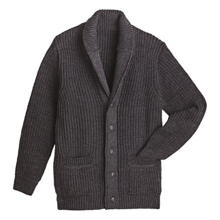 West End Knitwear Men's Merino Wool Sweater - Ribbed Knit Shawl Collar - Shawl Collar Tie