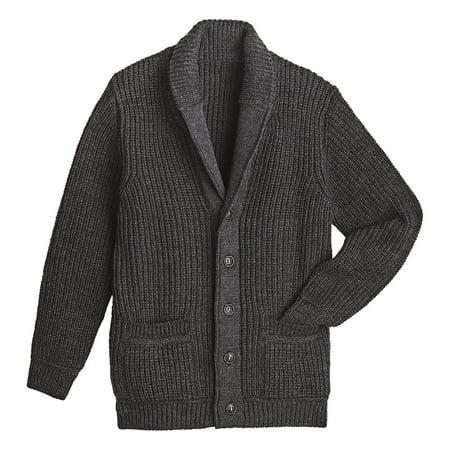 West End Knitwear Men's Merino Wool Sweater - Ribbed Knit Shawl Collar - Indigo Ribbed Sweater