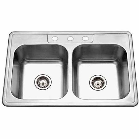 Houzer 3322-8BS3-1 Glowtone Series Topmount Stainless Steel 3-hole 50/50 Double Bowl Kitchen Sink, 8-Inch Deep 8' Double Equal Sink