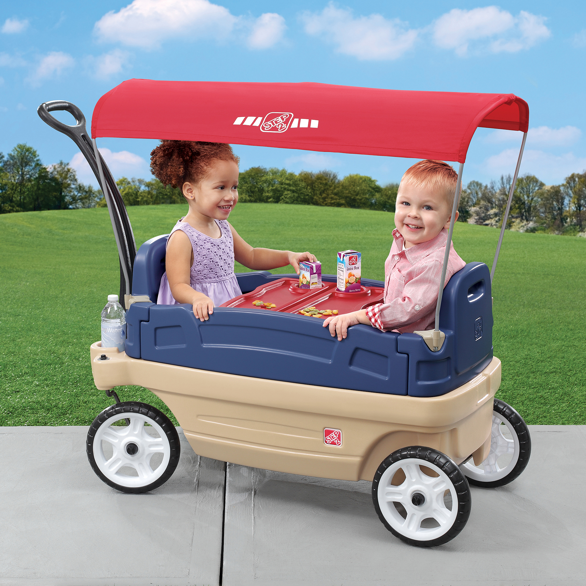 Step2 Whisper Ride Touring Wagon, Blue/Red with Removable Canopy and Drink Holder