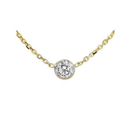 Round Diamond Solitaire Bezel Pendant (VVS 1/3ct Genuine Round Brilliant Cut Bezel Solitaire EX3 Diamond Pendant 14K Gold)