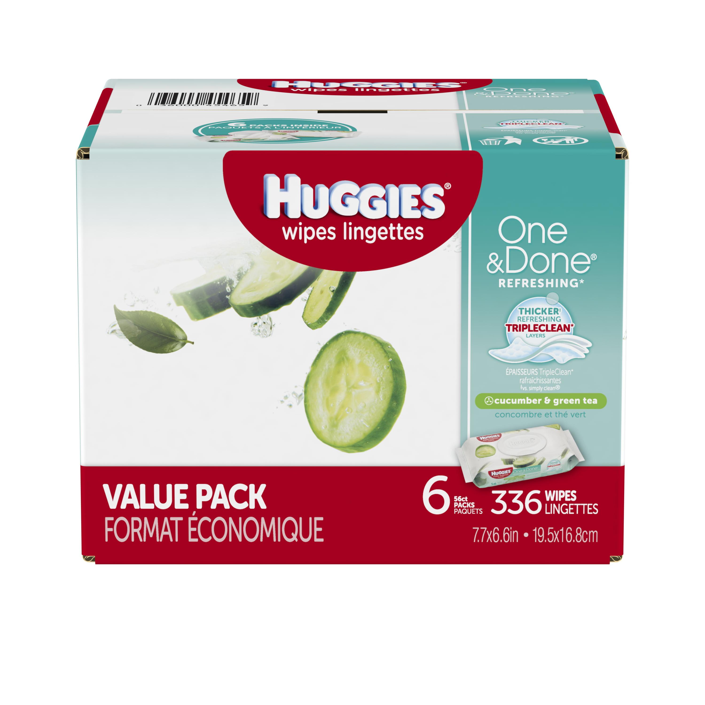 Huggies One & Done Cucumber & Green Tea Baby Wipes (336 ct) by HUGGIES