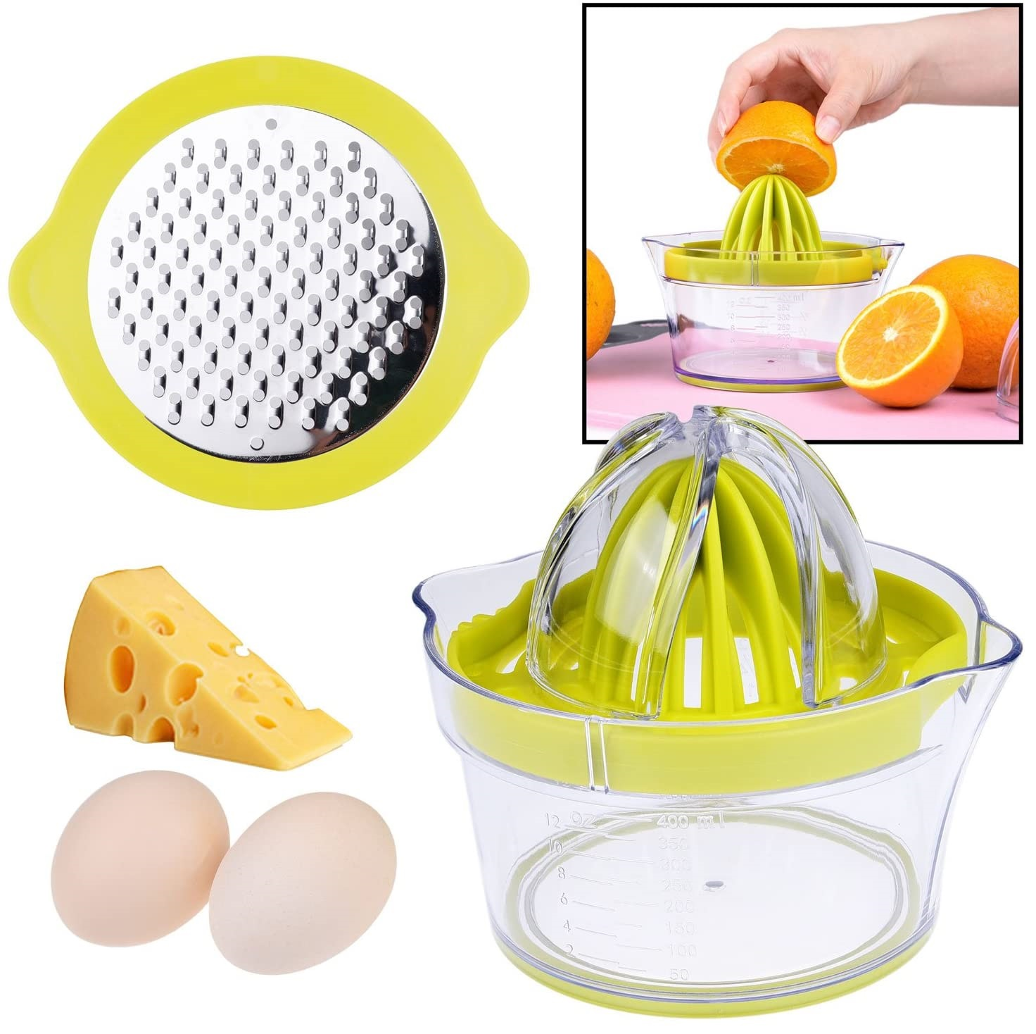 4 in 1 Multi-Function Manual Juicer with Multi-Size Reamers Citrus ...