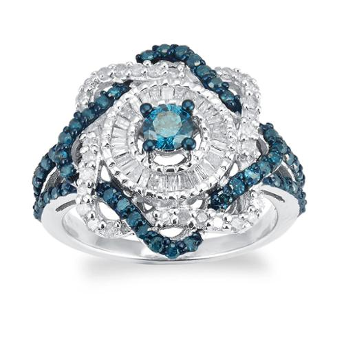 V3 Designs Sterling Silver 1.0ct TDW Blue And White Diamond Twist Ring