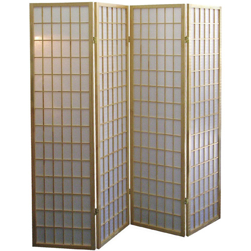 ore international 4-panel room divider, natural - walmart