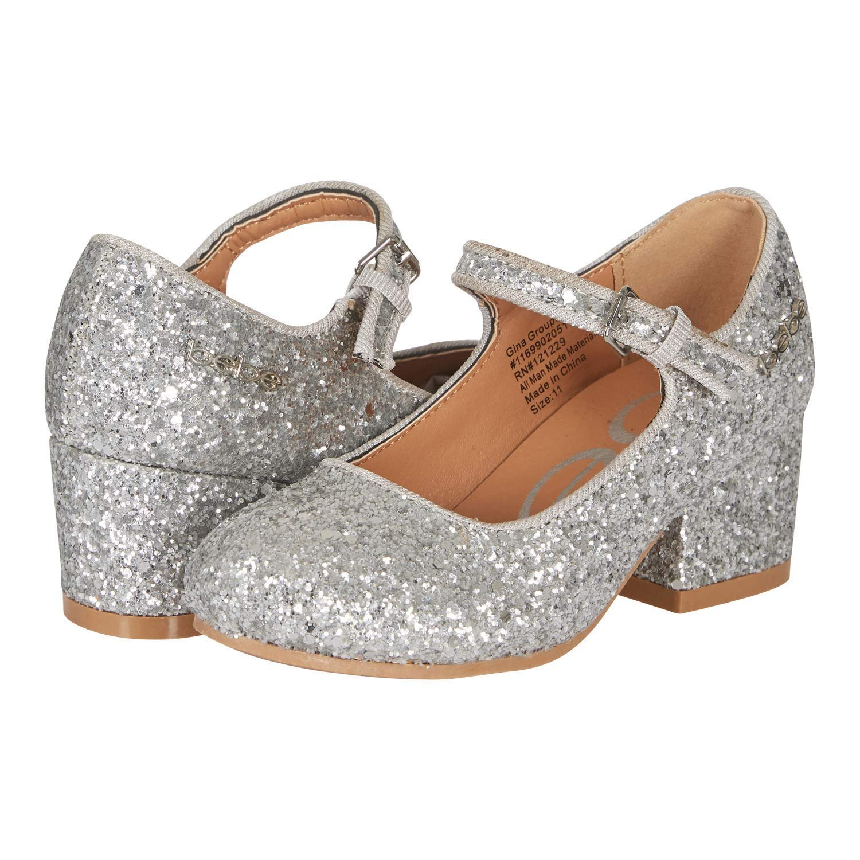 bebe Girls Mary Jane Shoes Glitter Upper Buckle Strap Slip-On Dress Mid-Heel