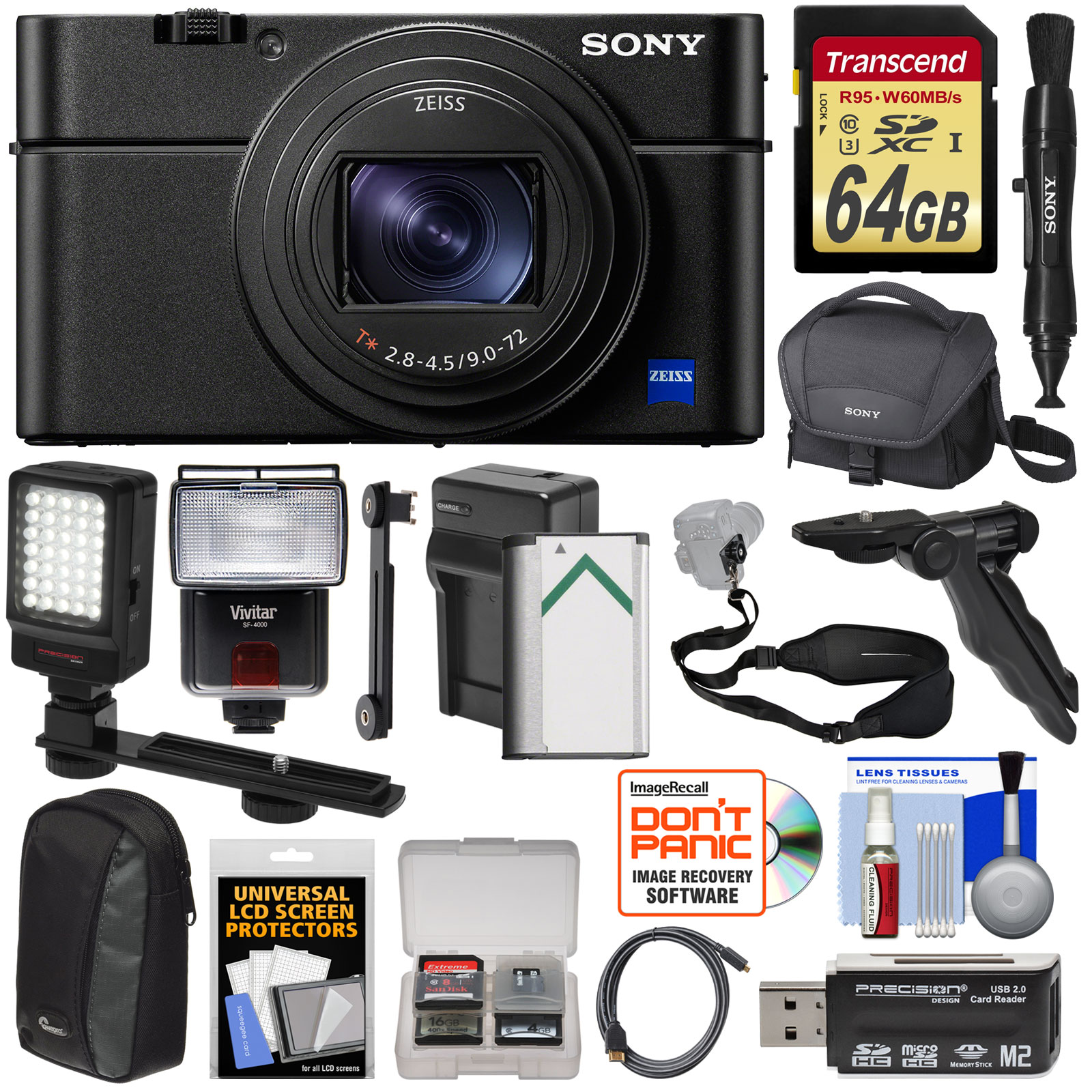Sony Cyber-Shot DSC-RX100 VI 4K Wi-Fi Digital Camera with 64GB Card + Battery & Charger + Cases + Flash + LED... by Sony