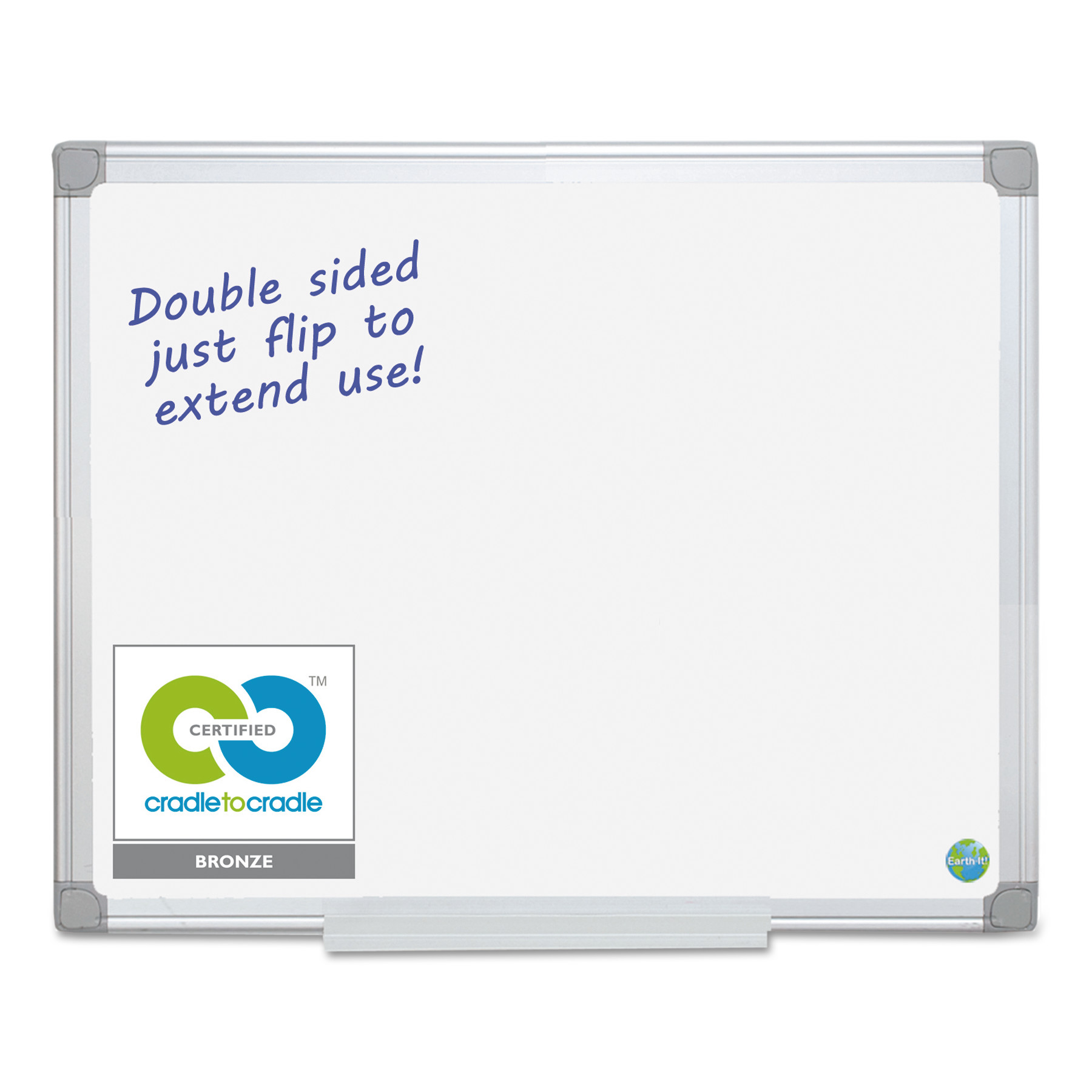 MasterVision Earth Silver Easy Clean Dry Erase Boards, 48 x 96, White, Aluminum Frame