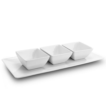 Leaf Serving Dish - Gibson Elite Gracious Dining 3-Piece Tidbit Serving Dish Set with Tray in White