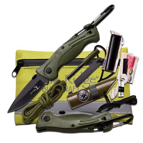 "Elk Ridge Green Survival Kit, 5"" x 4.25"" by Master Cutlery"