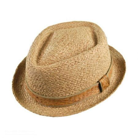 Raffia Straw Diamond Crown Fedora Hat - XXL - Natural (Natural Raffia Straw Hat)