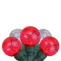 25 Red and Pure White Tinsel LED G30 Globe Christmas Lights - Green Wire