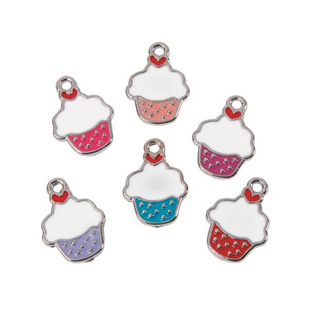 Fun Express - Valentine Cupcake Enamel Charms for Valentine's Day - Craft Supplies - Adult Beading - Charms - Valentine's Day - 12 Pieces