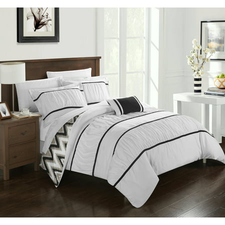 Chic Home 4-Piece Brooks Pleated & Ruffled with Chevron REVERSIBLE Backing Comforter Set with Shams and Decorative Pillows Included ()