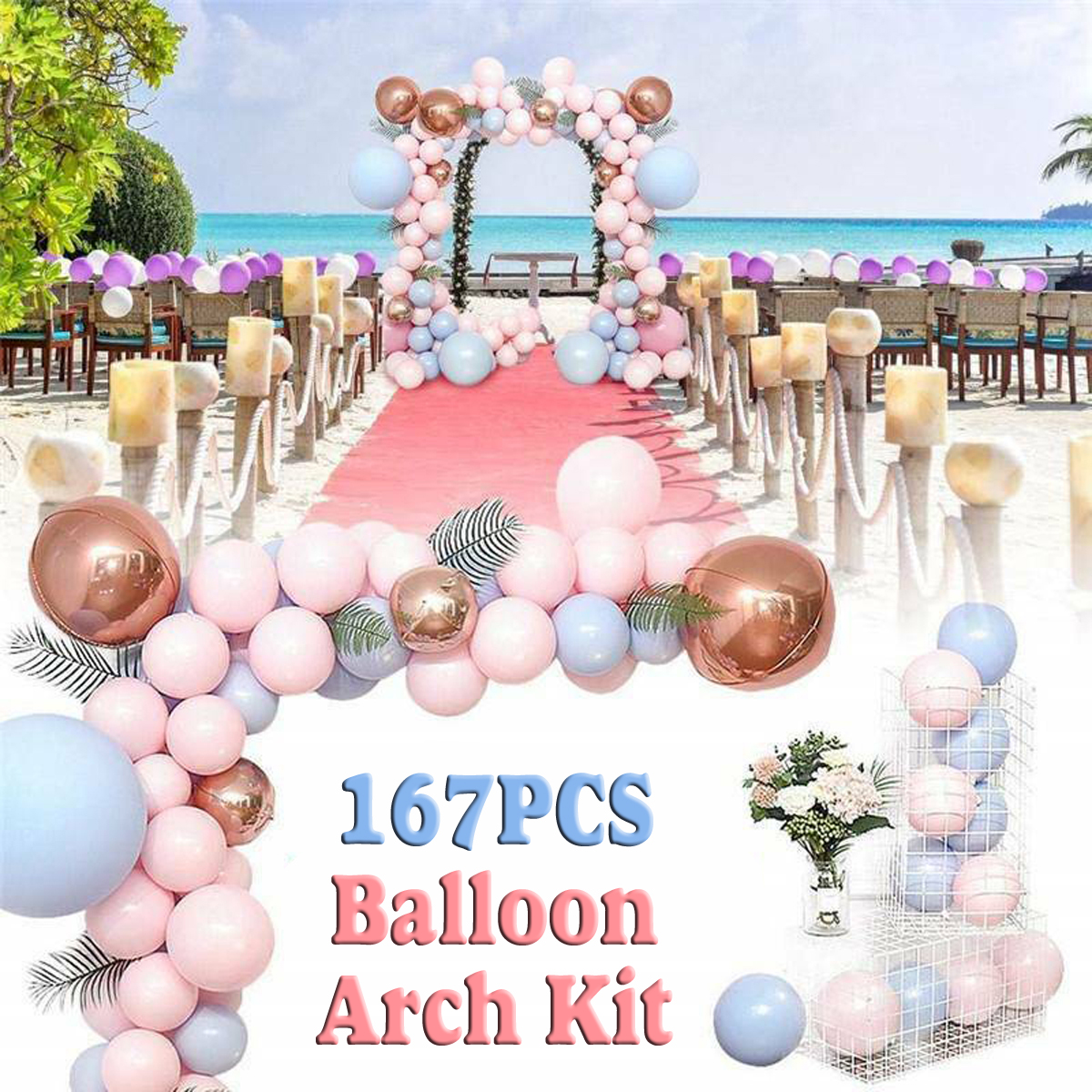 167pcs Set Macaron Balloon Arch Kit 5 18 Pink Blue Balloons Garland Kit For Wedding Birthday Party Decoration Event With 5m Chain Link Walmart Canada