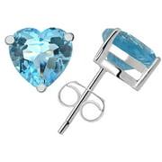 Orchid Jewelry Sterling Silver Topaz Blue Stud Earrings + Free Jewelry Pouch