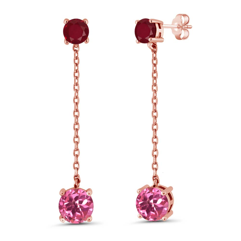 3.70 Ct Round Pink Mystic Topaz Red Ruby 18K Rose Gold Plated Silver Earrings by