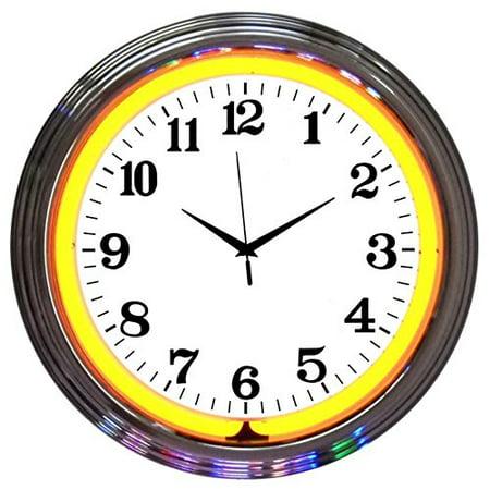Neon Clock Orange Standard Black Numbers Genuine Electric