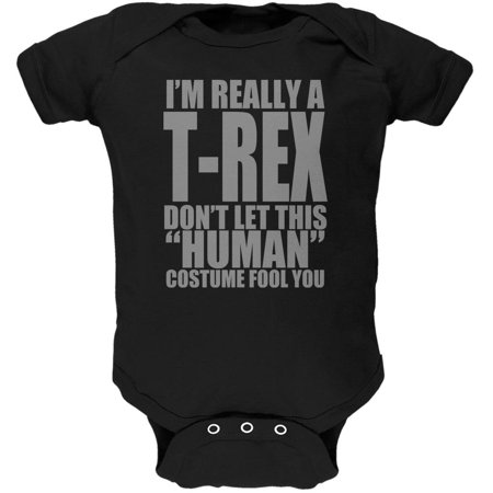 Halloween Human T-Rex Costume Soft Baby One Piece Black 3-6