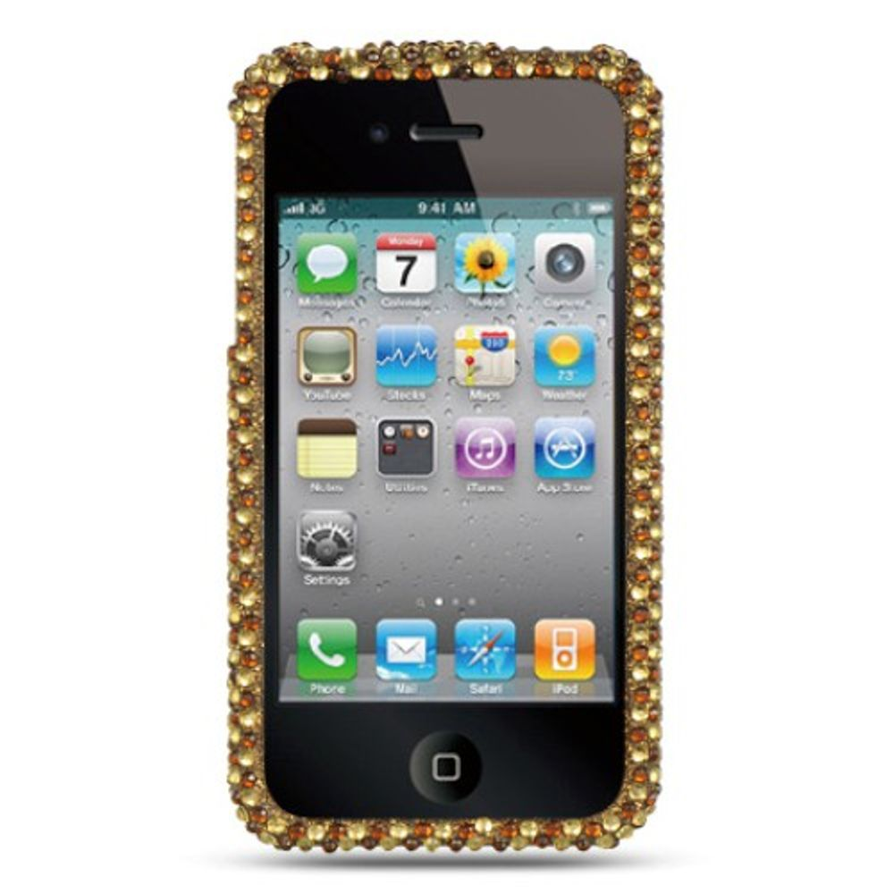 Insten Hard Bling Cover Case For Apple iPhone 4 - Gold - image 1 de 2